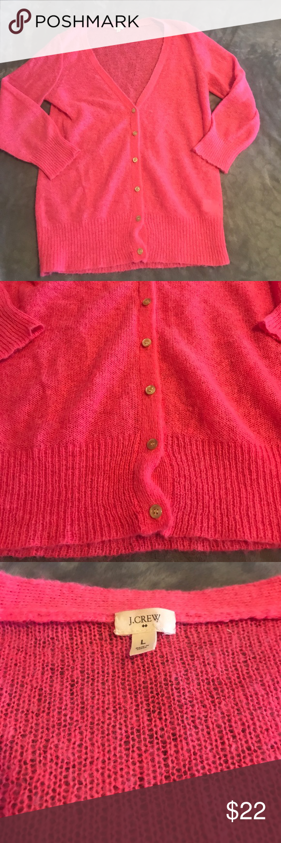 J. Crew pink button down sweater. Size Large J. Crew size Large ...