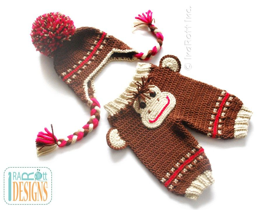 PDF Crochet Pattern for making a cute Monkey Pants with Matching Hat ...
