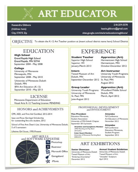 art resume template samples of resumes for teachers artist resume ...