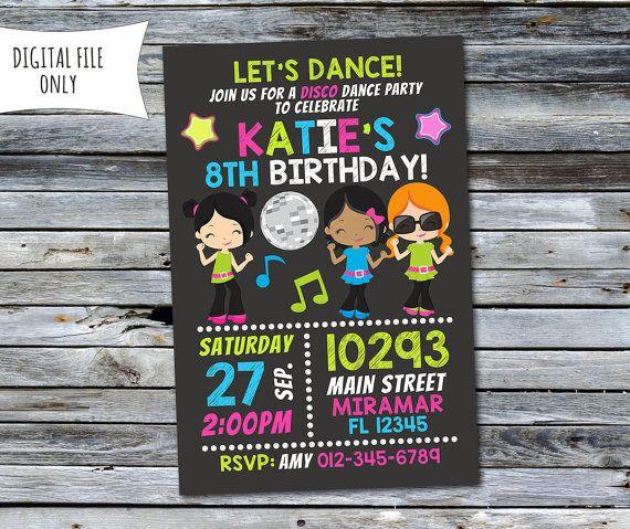 Disco invitación / invitación de por DaisyBooDesignStudio en Etsy