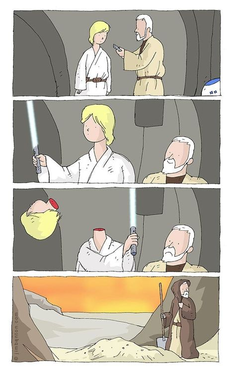 """""""This is the weapon of a Jedi Knight. Not as clumsy or random as a blaster; an elegant weapon for a ...  Oops."""""""
