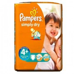 Pack de 44 Couches Pampers Simply Dry de taille 4+ sur Couches Zone