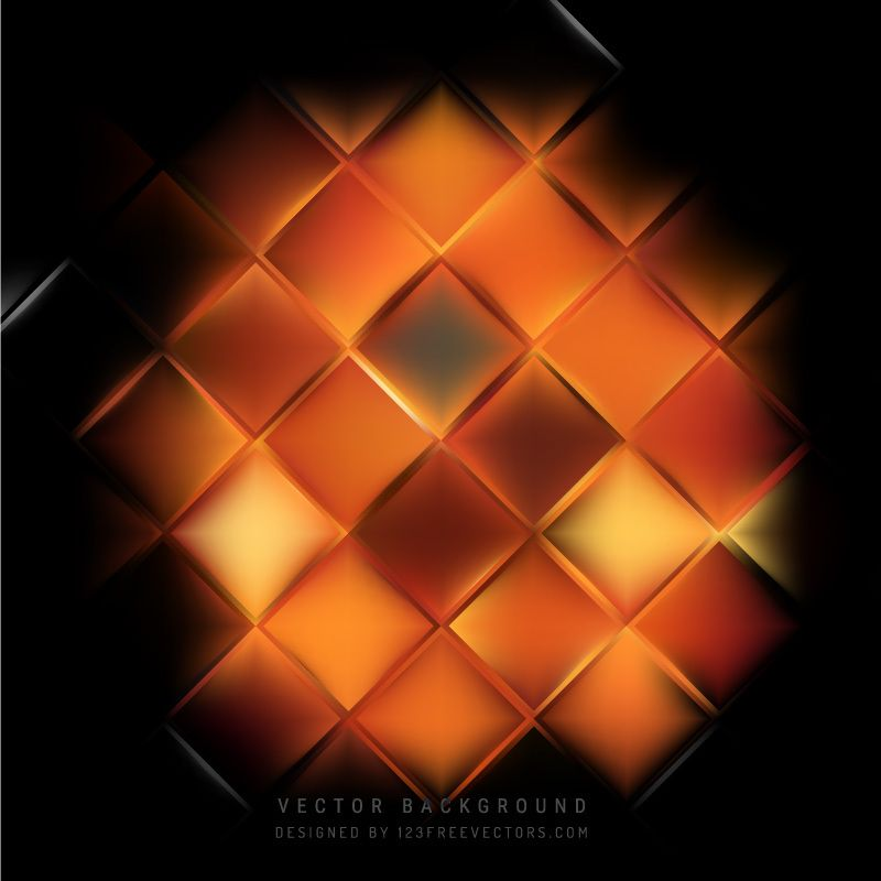 Abstract Black Orange Fire Square Background
