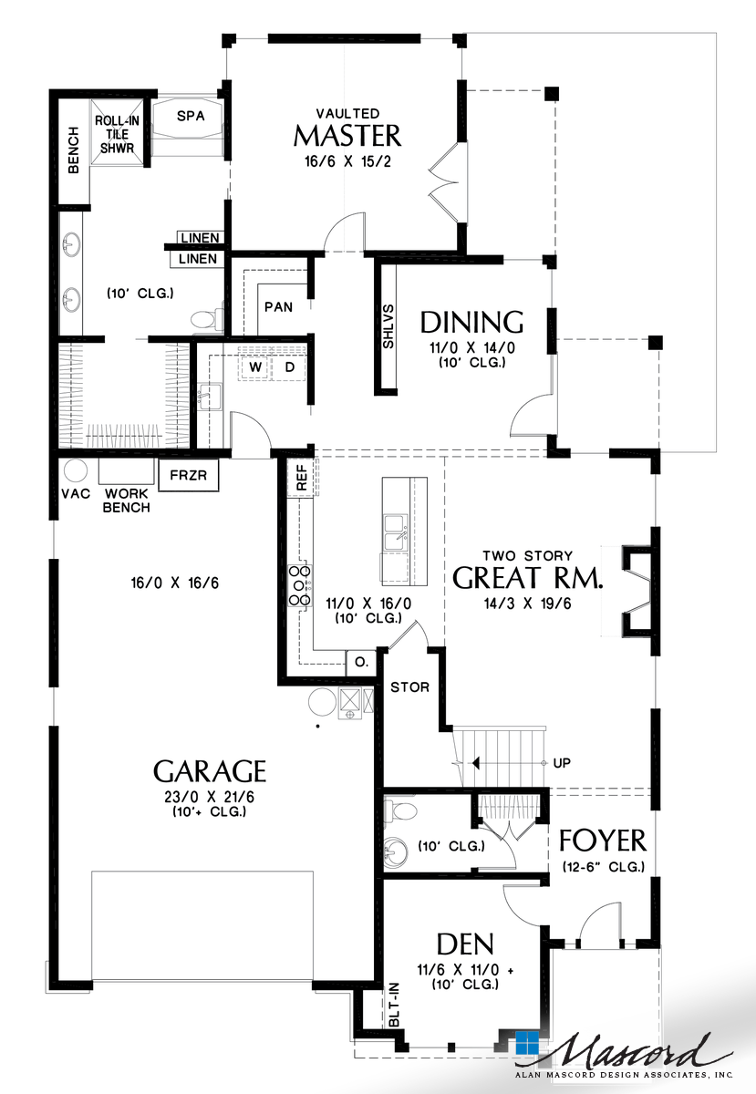 Main Floor Plan Of Mascord Plan 22215 The Senise Great Design For Family Members With Differing Physical Ab House Plans Cottage House Plans New House Plans
