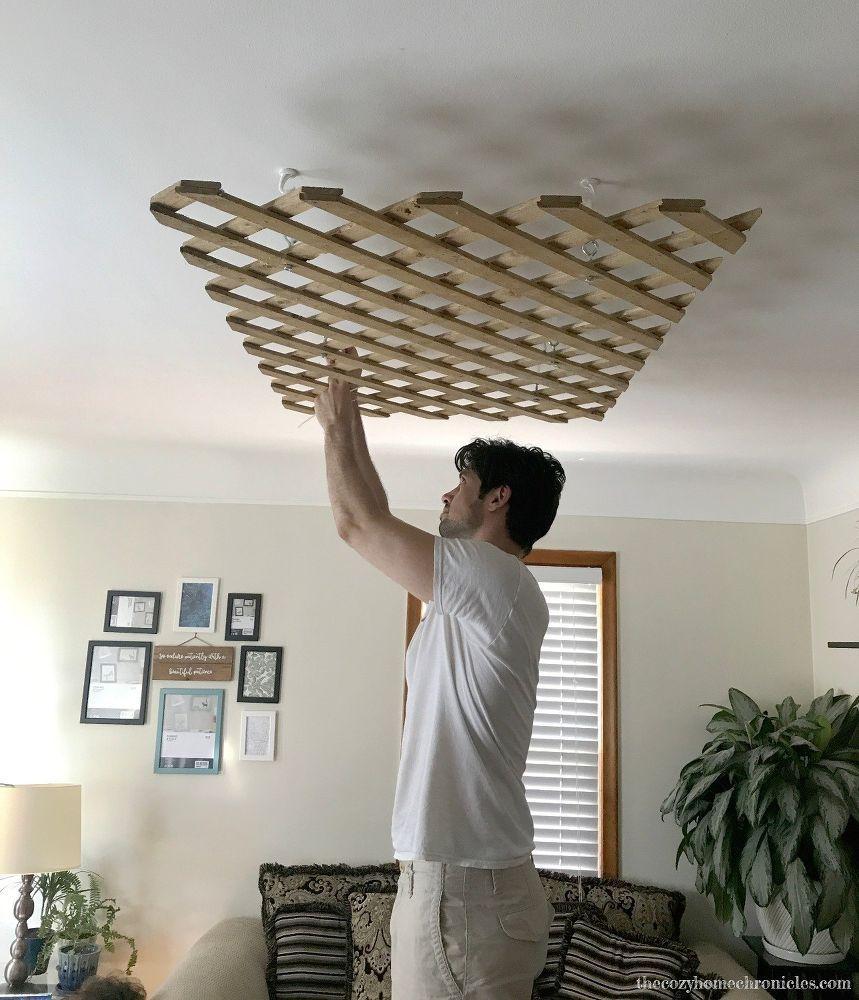 Diy Garden Lattice Light Fixture Diy Light Fixtures Fixtures Diy Diy Ceiling Diy living room lighting