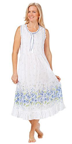 b581e198237 Sleeveless Long Cotton Lawn Nightgown By La Cera in Meadow Mist Medium 1012  WhiteBlue   You can find out more details at the link of the image.