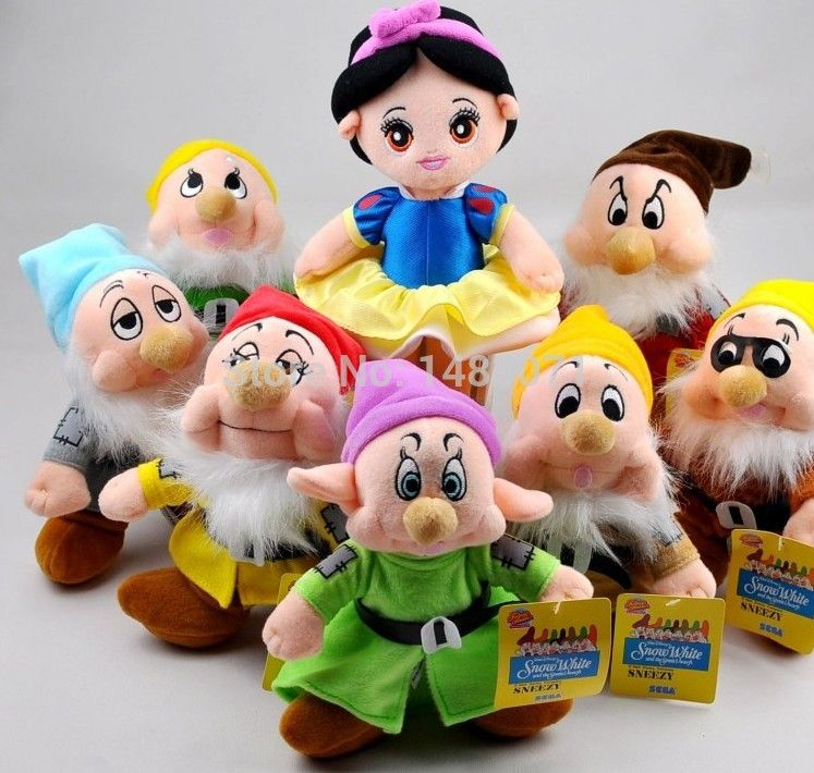 8'' 8pcs/set The Snow White Princess and Seven Dwarfs Soft plush Doll Toys Christmas Gifts