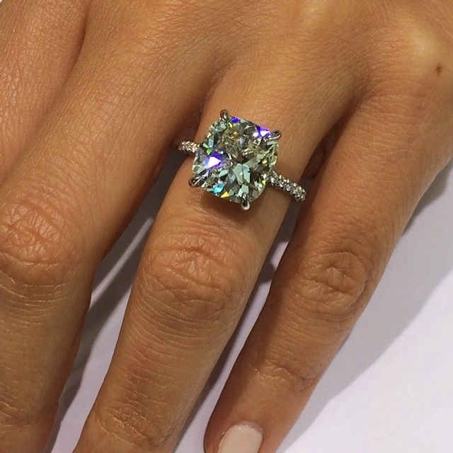 110 Cushion Cut Pave Engagement Ring GIA CERTIFIED APPRAISED
