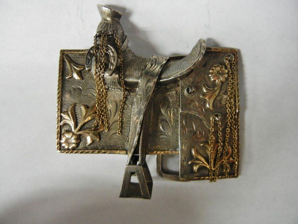 Vintage 925 Sterling Silver & 10k GF Horse Saddle Belt Buckle #Unbranded