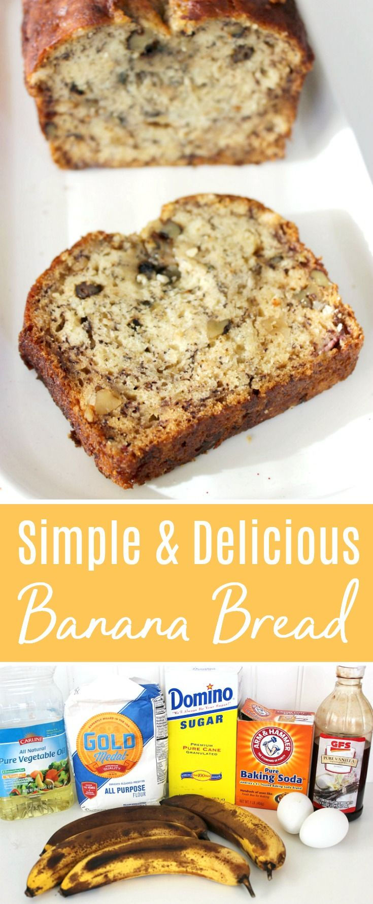 Just A Few Pantry Staples Can Make This Simple Delicious Banana Bread Recipe Banana Nut Bread Recipe Delicious Banana Bread Recipe Banana Bread Recipe Moist