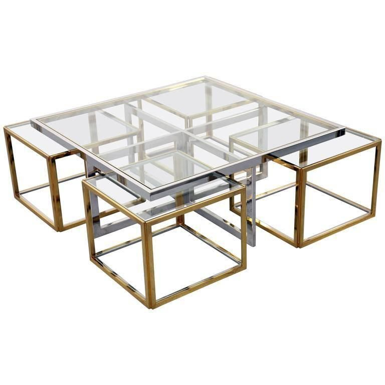 Maison Charles, Huge Coffee Table Chrome And Brass, Four Nesting Tables,  Bicolor