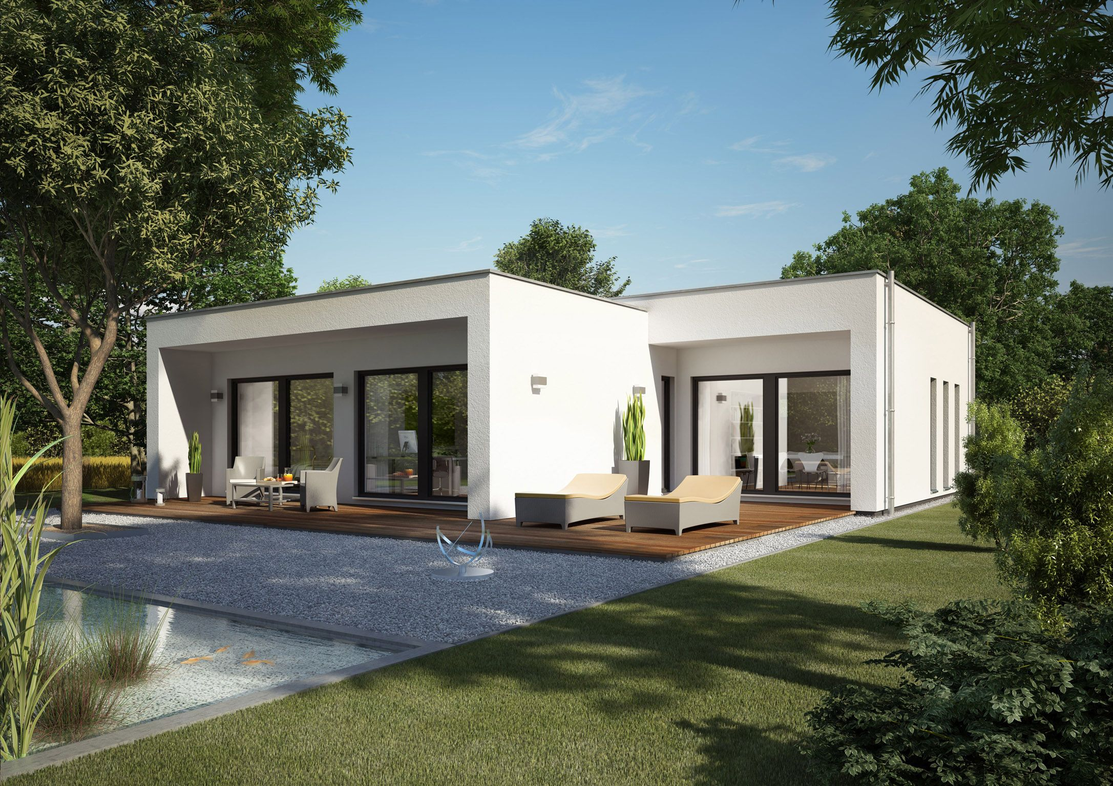 Nice bungalow I should want to have: flat roof, just floor, several ...