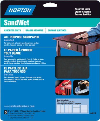 Norton 48110 Sand Wet Sandpaper Assorted Grit, 9-Inch x 11-Inch, 5
