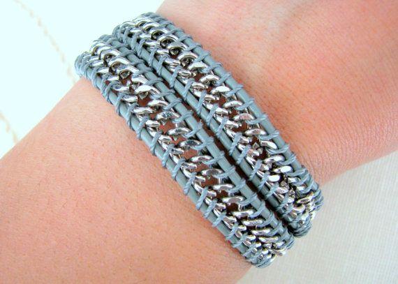 Chain Wrap Bracelet on Grey Leather Silver Chain by MaisJewelry