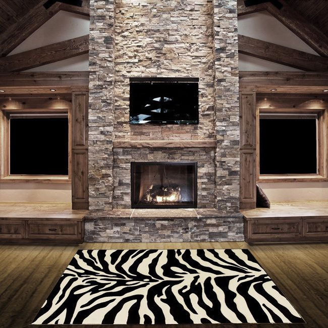 Lyke Home Hand-carved Zebra Skin Animal Print Area Rug (5