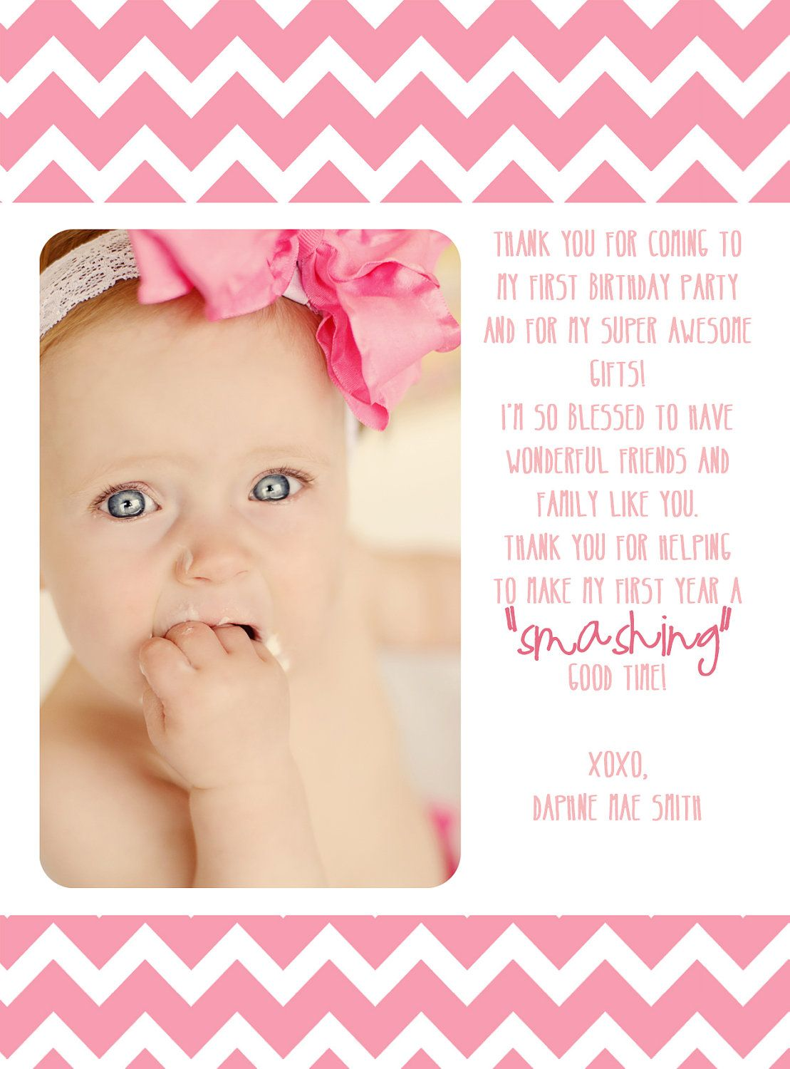 first birthday thank you card 1200 via Etsy Wish I would have