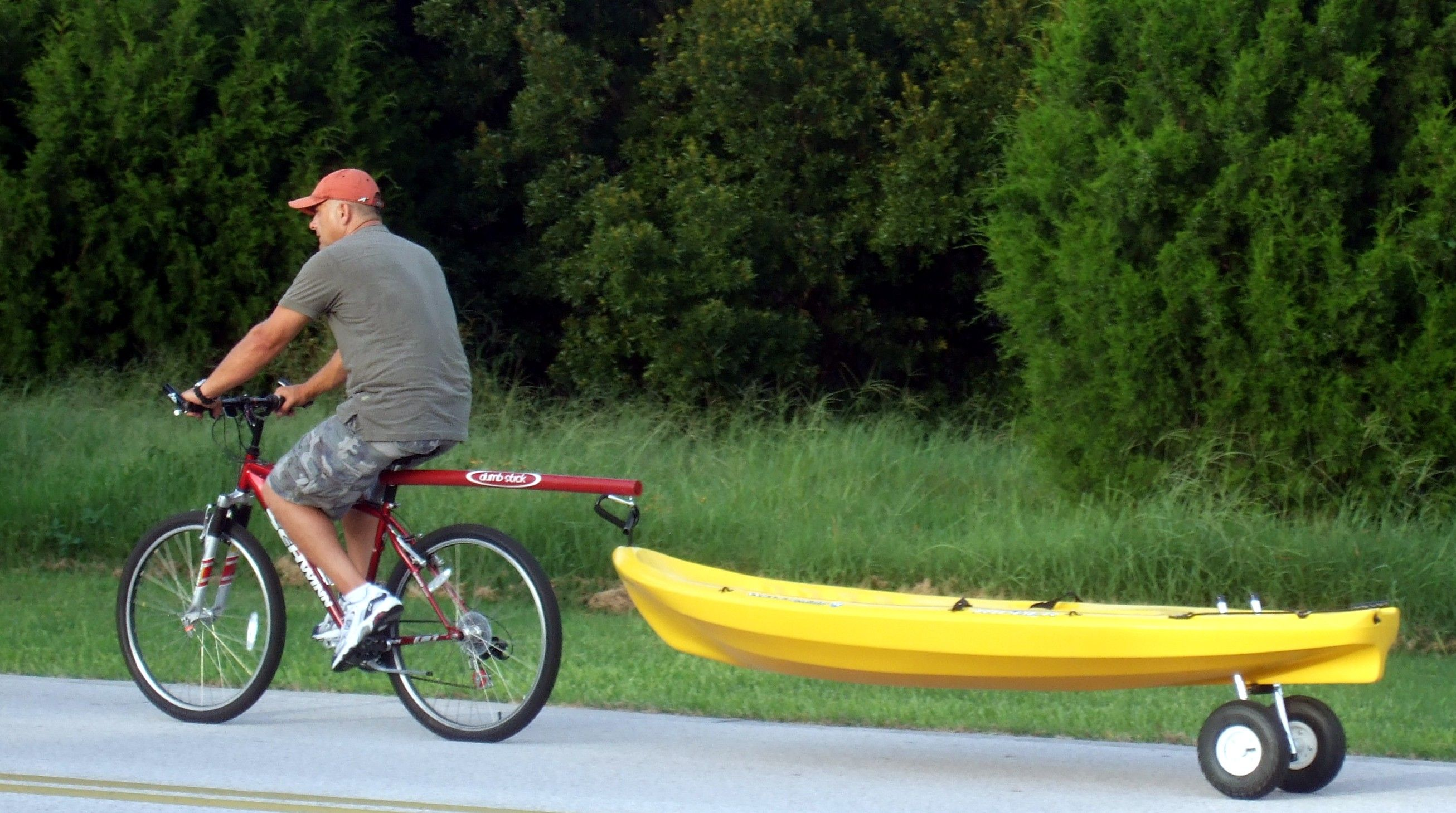 Www Dumb Stick Com Bicycle Tow Bar For Towing Your Kayak Canoe