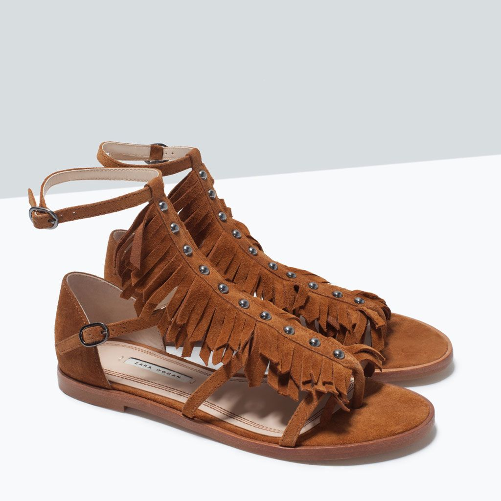 zara - femme - sandales plates en cuir avec franges | groll