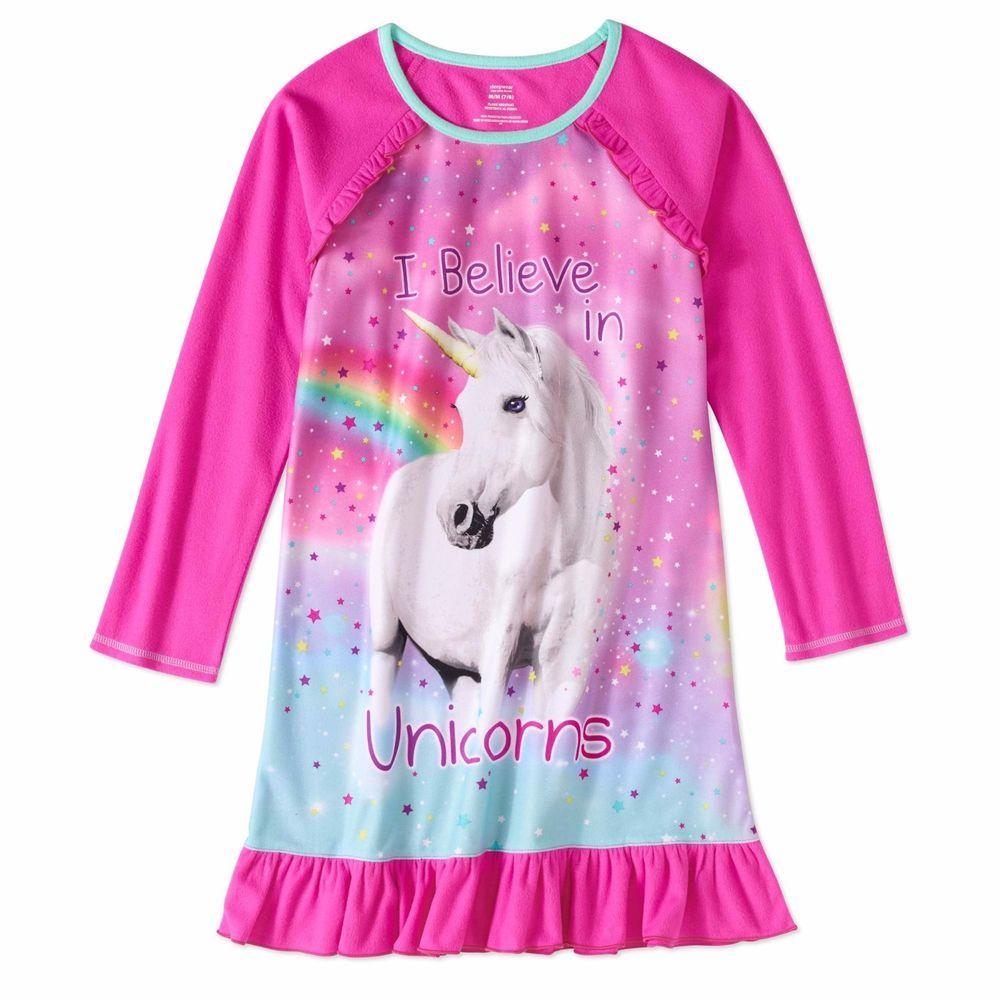 Girls Pink Unicorn Long Sleeve Nightgown Pajama Dress Sz 6 6X New with Tag  Kids  Sleepwear  Nightgown 48025e787