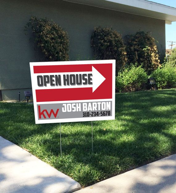Digital file art modern realtor open house yard sign by for Modern house real estate