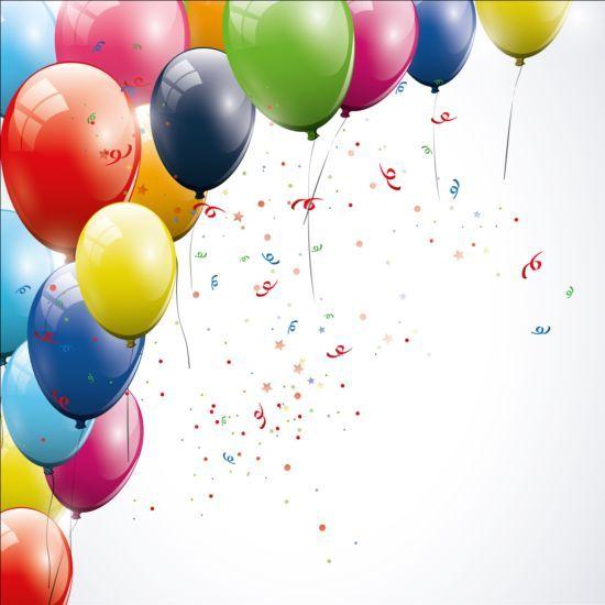 Birthday background colored confetti with balloon vector 02 Vectors Crear tarjetas de
