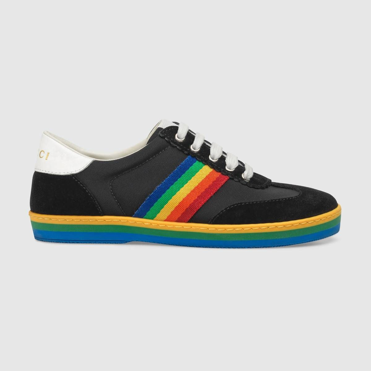 1d5622931f0 Shop the Children s G74 sneaker with rainbow stripe by Gucci. Referencing  classic trainers from the  70s