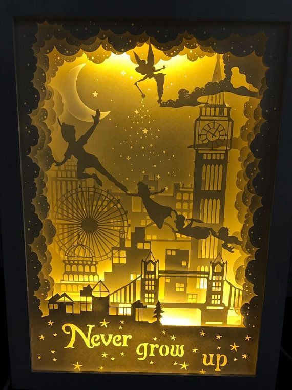 Silhouette Peter Pan Paper Cut Light Box Night Light By