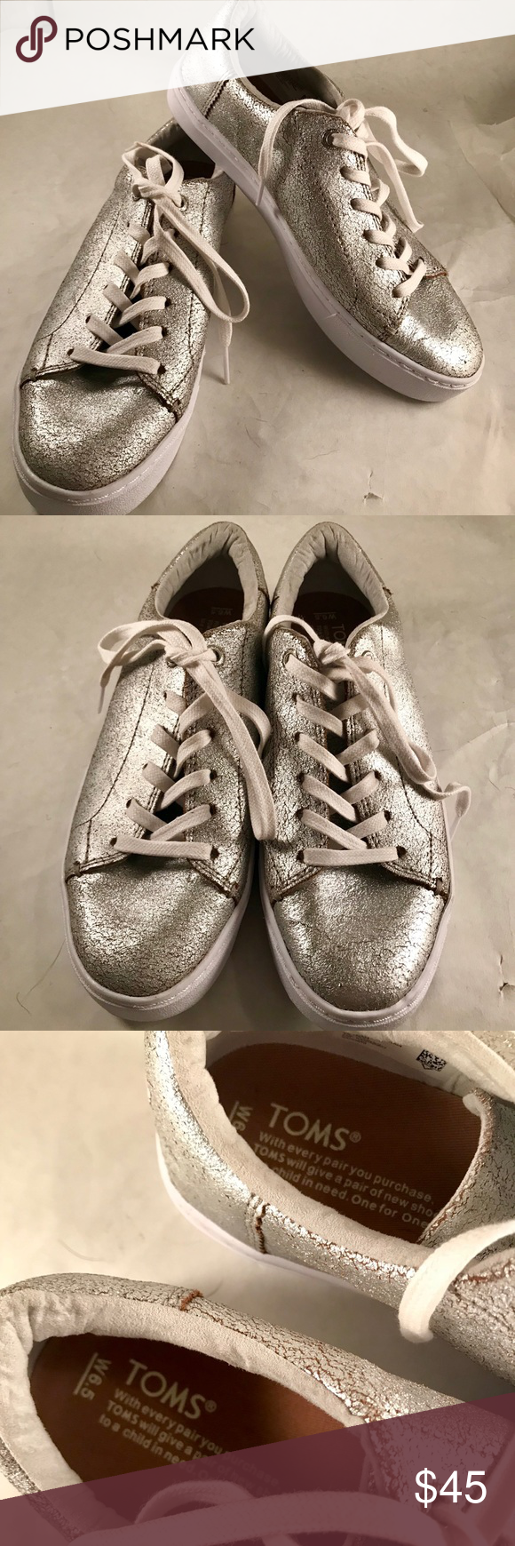 b7d6992a609 Toms Silver Distressed Sneakers SILVER METALLIC LEATHER WOMEN S LENOX  SNEAKERS gorgeous pair of comfy yet stylish pair of sneakers. They are NWOT  no box.