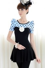 Dots Printing Blue Top Puff Sleeve T-shirt - New Arrivals