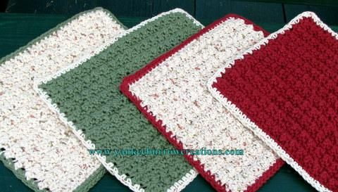 sage green and country red eco friendly crochet dish cloths on Handmade Artists' Shop  https://handmadeartists.com/product-details/Crochet,%20Knitting,%20and%20Needlecraft/Housewares/sage%20green%20and%20country%20red%20eco%20friendly%20crochet%20dish%20cloths/?pid=201208171720296f758