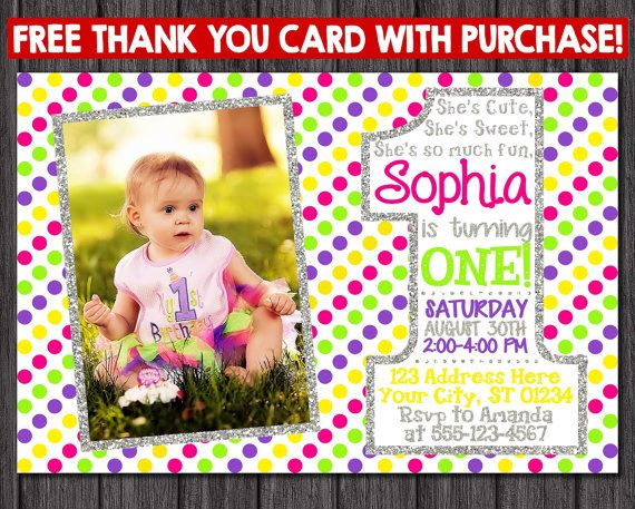 First Birthday Invitation  Multi-colored 1st by PuggyPrints