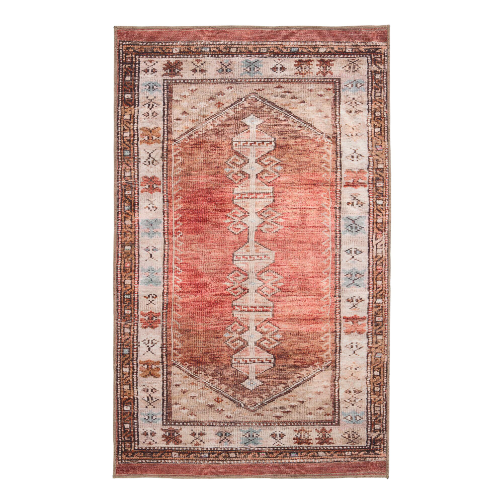 Terracotta And Beige Persian Style Izmir Area Rug World Market Area Rugs Persian Inspired Rug Bath Rugs Sets [ 1000 x 1000 Pixel ]