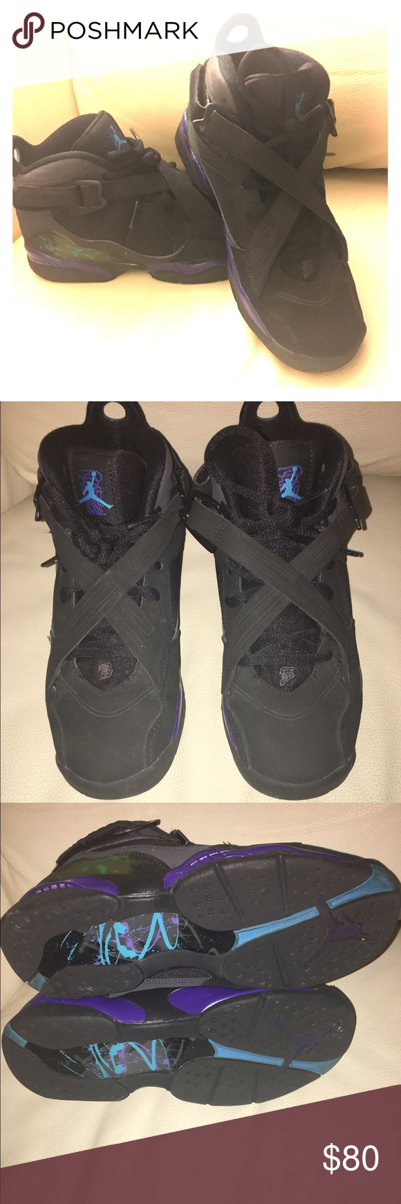 554b0b65955f Jordan 8 s WORN ONE TIME!!! These are a boys size 4 which fits a ...