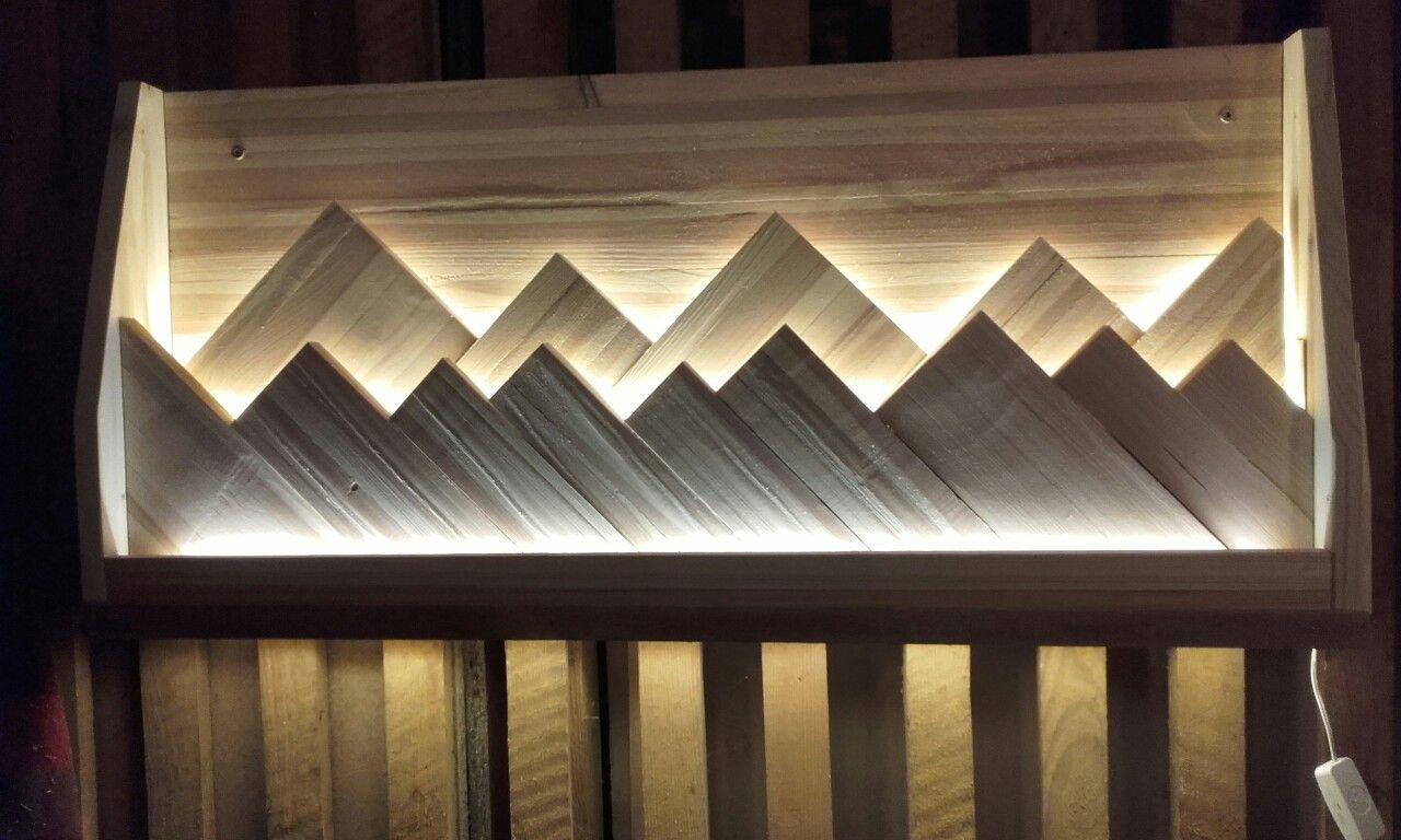 berge im licht led bilder holzbilder holz silberne wanddekoration ausgefallene wanddeko