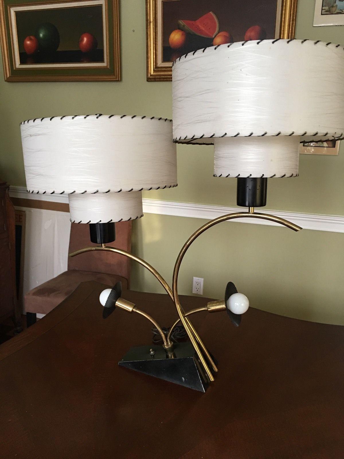 Vtg 1950s Majestic Table Lamp Fiberglass Shades Retro Mid Century Modern Table Lamp Unique Lamps Antique Lamps