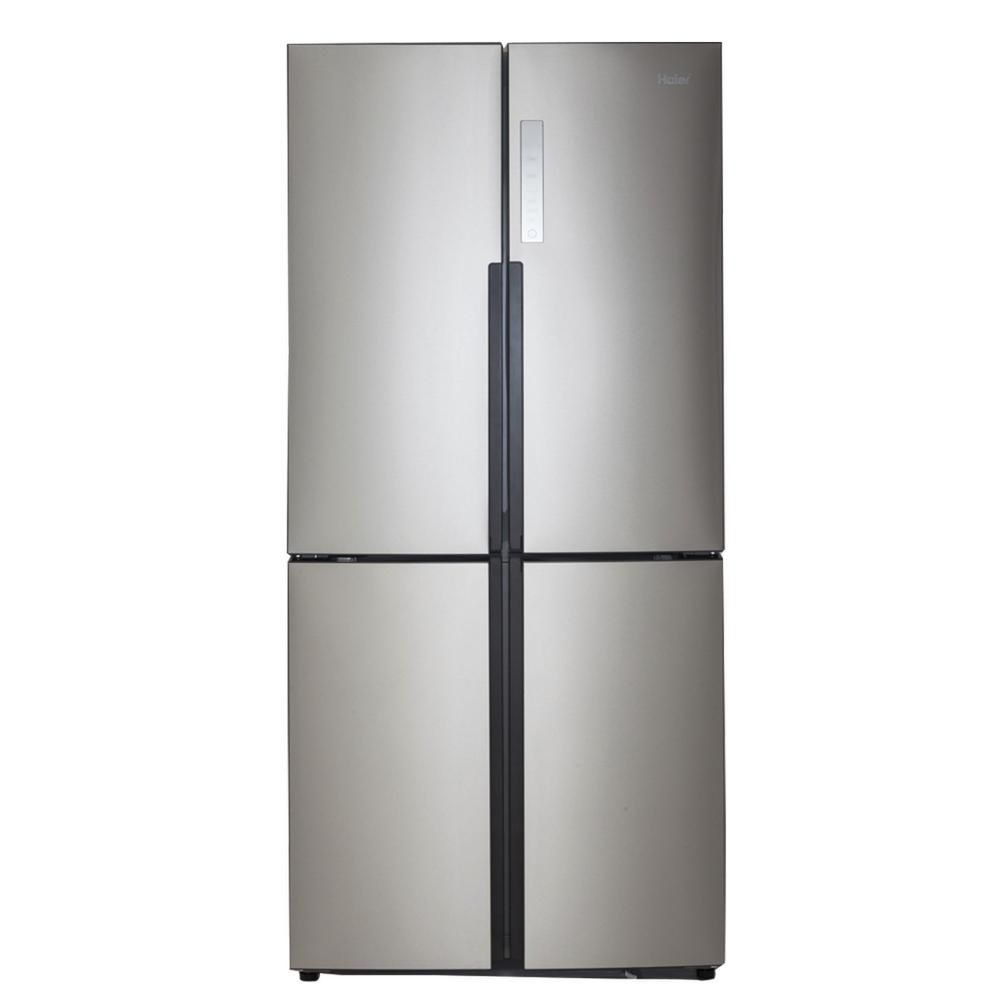 Haier 16 4 Cu Ft Quad French Door Freezer Refrigerator In Stainless Steel Silver