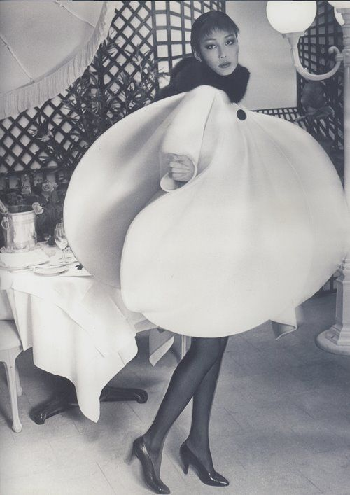 """Pierre Cardin -nown for his avant-garde style and his Space Age designs. He prefers geometric shapes and motifs, often ignoring the female form. He advanced into unisex fashions, sometimes experimental, and not always practical. He introduced the """"bubble dress"""" in 1954"""