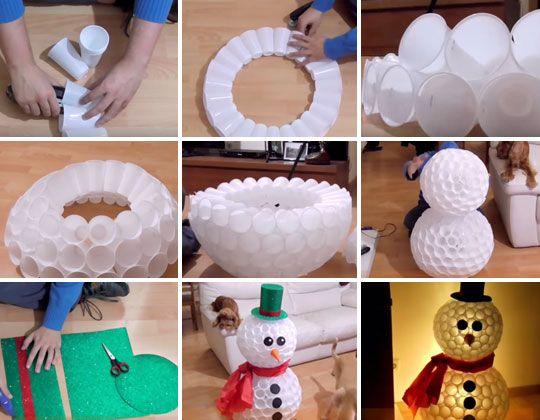 Diy Snowman Made From Plastic Cups Diy Christmas Snowman Diy