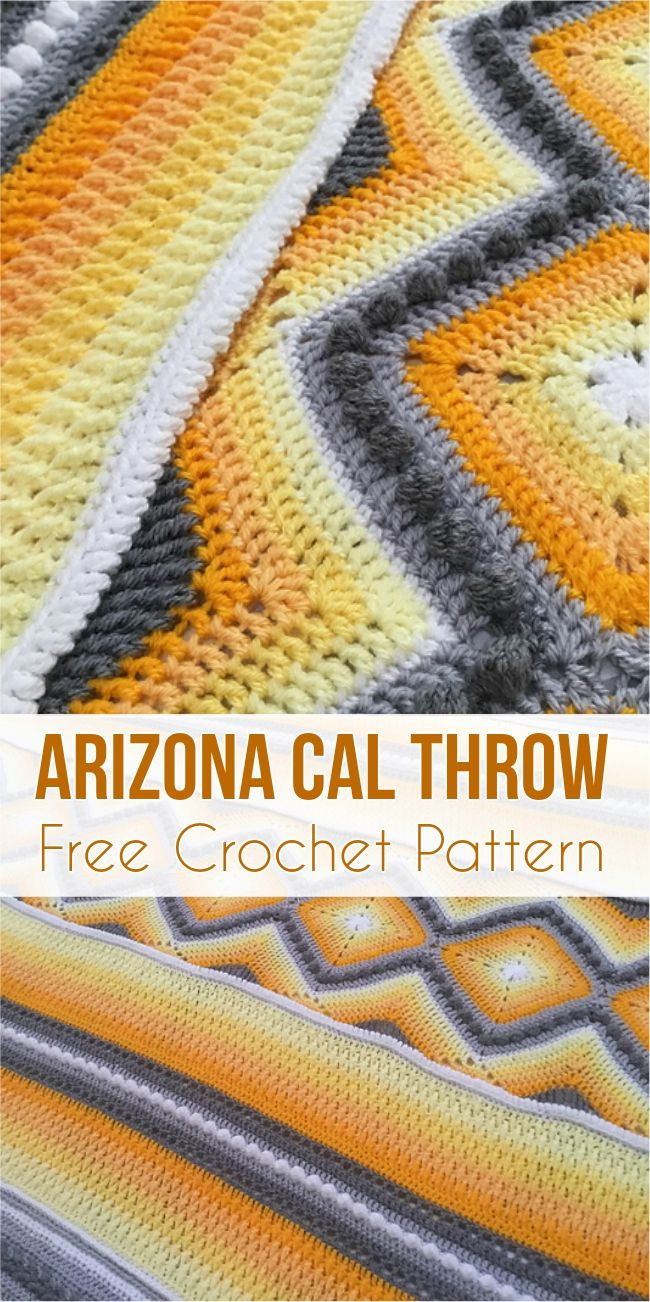 Arizona Cal Throw - 13 Stitch Free Crochet Pattern | Decken, Häkeln ...