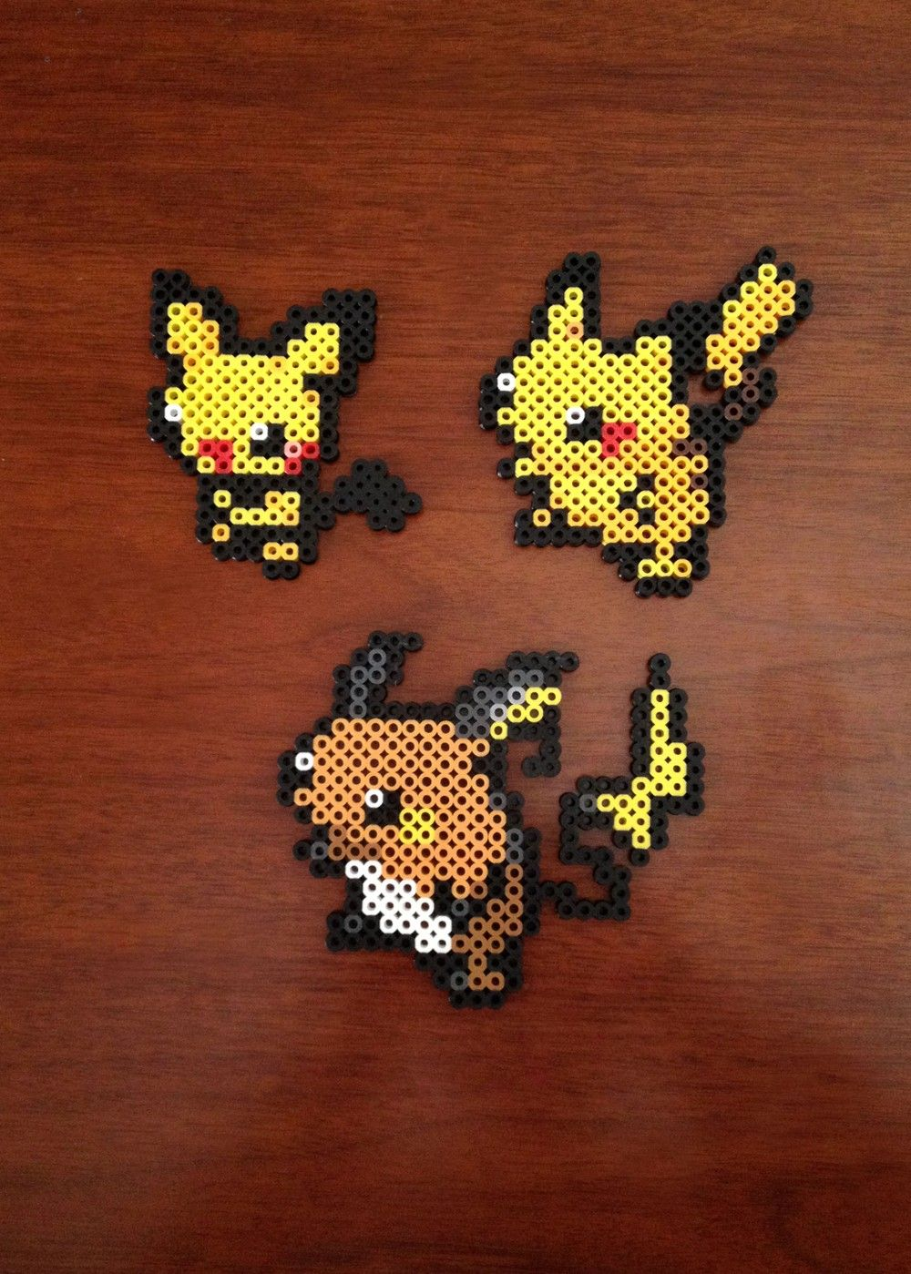 Pokemon Inspired 8 Bit Perler Set Pichu Pikachu Raichu