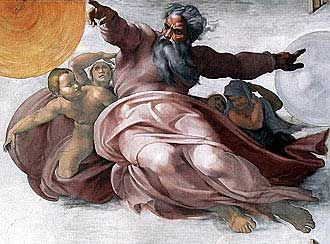 Image result for Michelangelo in the Sistine Chapel sun, moon and stars