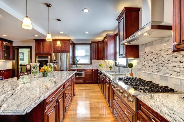 Cherry Kitchen Cabinets With Granite Countertops White Granite With Cherry Cabinets Cont Cherry Cabinets Kitchen White Granite Countertops Contemporary Kitchen