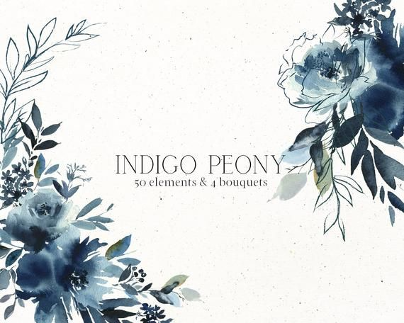 Indigo Peony Watercolor Floral Elements Clipart Navy Blue Hand Painted Flowers Png Hand Drawn Line Leaves Bouquets For Wedding Invitations Flower Painting Floral Watercolor Hand Painted Flowers