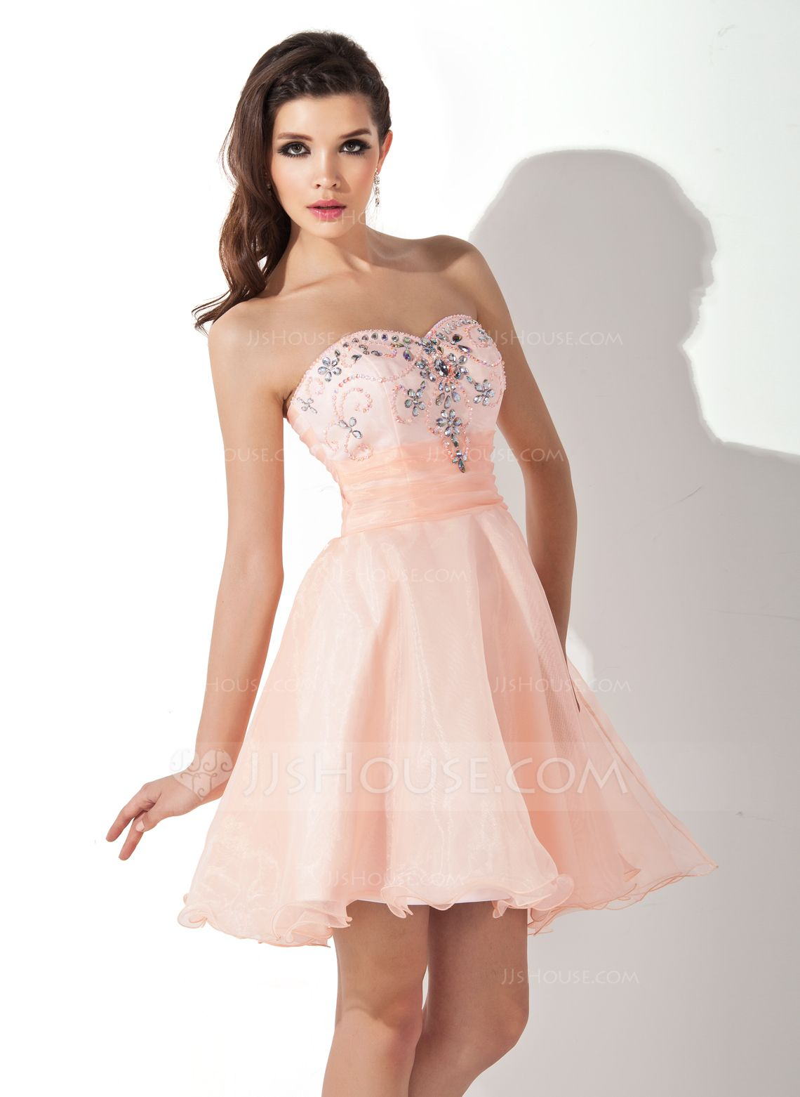 A-Line/Princess Sweetheart Short/Mini Organza Homecoming Dress With Ruffle Beading (022010243) - JJsHouse
