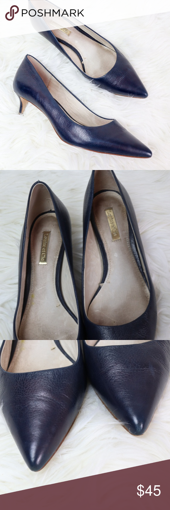 Louise Et Cie Navy Jacoba Heels Louise Et Cie Navy Leather Heels