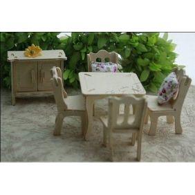 DIY Dollhouse Dining Room Furniture Wooden Kit $3.99
