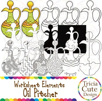 Glitter Jewish Hanukkah Chanukah Oil Pitcher Worksheet Elements Clipart! Contained in the zip file are 15 PNG files with transparent background, 300dpi and high resolution.This set includes 2 colored images and 13 black and white images.They are great for creating worksheets for tracing, cutting, drawing, counting, etc.