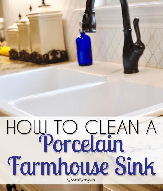 How To Clean A Porcelain Farmhouse Sink Clean Sink Clean Bathroom Sink Porcelain Sink