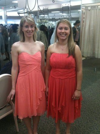422827a88f6 Coral Reef vs Guava at David s Bridal the style on the left is super cute!