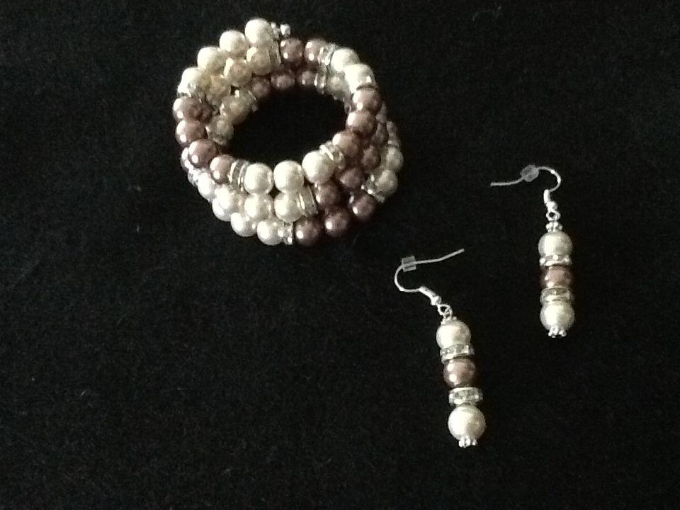 Pearls and things bracelet, matching earrings $25.00 set